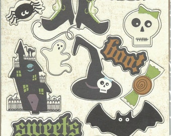 Imaginisce Brand --  Halloween Collection Chipboard pieces  -- NEW -- Rest In Pieces  --    (#603)
