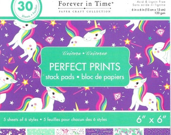 6 x 6  Paper Pad  ~~  Unicorn  ~~  Forever In Time Brand  --  NEW  (#3724)