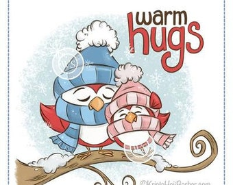 Whimsy Stamps --   Warm Hugs Birds    -- NEW  -- (#3710)
