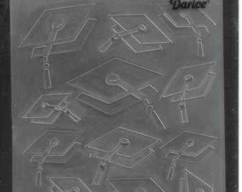 Darice Embossing Folder  --  New  -- Graduation Caps --  (#3100)