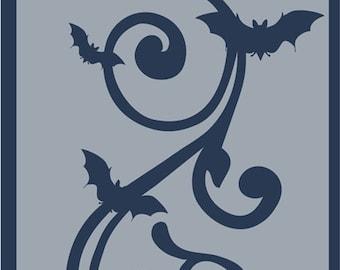 Clear Scraps Designer Stencil -- New --   Bat Swirl   -- (#3999)