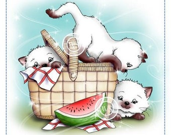 Whimsy Stamps -- Purr-fect Picnic Cats   -- NEW -- (#2866)