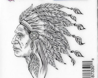 Deep Red Cling Stamps --   Indian Chief  -- NEW -- (#3232)