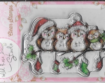 Wild Rose Studio Clear Stamp   --  NEW --    Owls on Branch  --  (#1865)