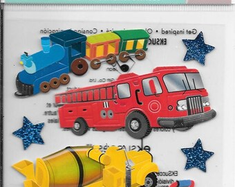 Jolee's Boutique --  Trucks and Trains --   dimensional stickers -- NEW  --  (#2446)