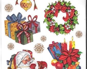 Glitter Embossed Stickers  - NEW (#1946) -  Christmas Santa