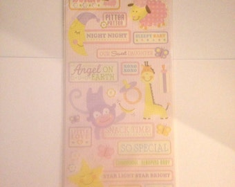 K & Company --   Embossed Stickers -- 31 pieces -- self adhesive stickers -- NEW  (#1499)  --  Animal Tales Baby Girl