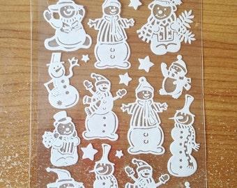 Gel-Soft Glitter Stickers #1 - NEW (#1944) -  Christmas Snowmen