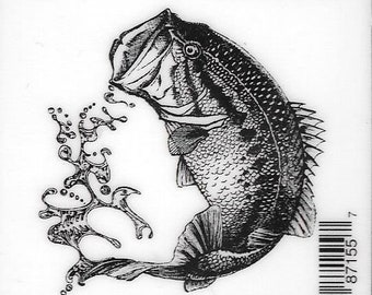 Deep Red Cling Stamps --  Large Mouth Bass -- NEW -- (#2961)