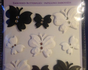 Forever In Time Brand --  Handmade Paper Embossed Butterflies  --  Dimensional Butterflies  -- NEW --  (#1021)