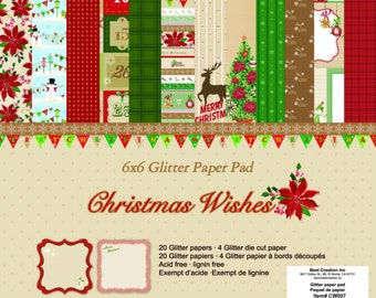 6 x 6 Glitter Paper Pad  ~~  Christmas Wishes ~~   Double sided paper  ~~  NEW  (#1909)