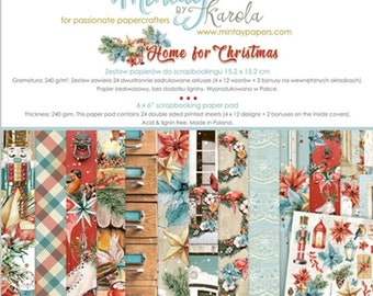 6 x 6 Paper Pad ~ Home For Christmas  ~ Double sided  NEW  (#4038)