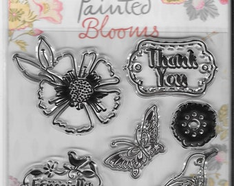 Dovecraft Cling Stamps -- Painted Blooms/Happy Birthday  -- NEW -- (#2719)