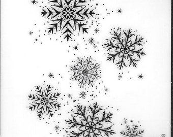 Deep Red Cling Stamps --  Snowflake Background -- NEW -- (#2822)