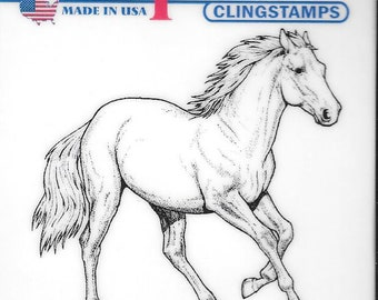 Deep Red Cling Stamps --  Wild Horse -- NEW -- (#2824)