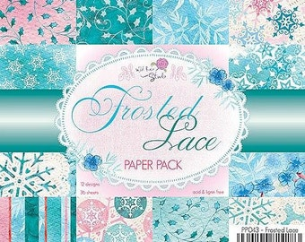6 x 6  Paper Pad ~ Frosted Lace ~ Christmas  ~ Wild Rose Studio Brand ~ NEW  (#1951)