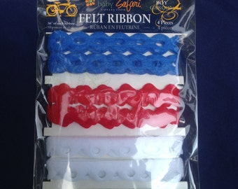 Little Yellow Bicycle   --  Baby Safari  --    4 piece FELT Ribbon Set      --  NEW   --   (#569)