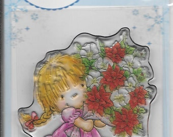 Wild Rose Studio Clear Stamp   --  NEW --    Girl with Xmas Bouquet  --  (#1954)