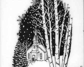 Deep Red Cling Stamps -- Christmas Eve  -- NEW -- (#2493)