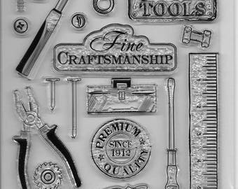 Clear Acrylic Stamp Set  --  NEW -- Tools Vintage (#2540)