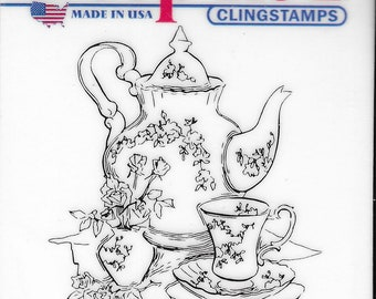 Deep Red Cling Stamps --     Tea Set     -- NEW -- (#3826)