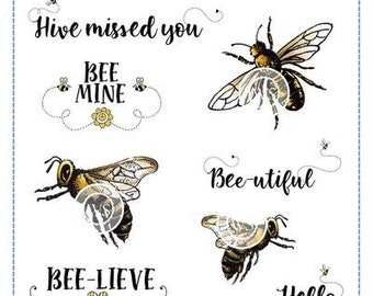 Whimsy Stamps -- Bee-utiful Bees Set    -- NEW -- (#3647)