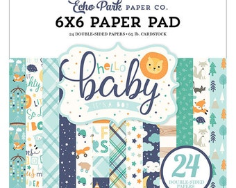 6 x 6 Paper Pad ~ Hello Baby It's A Boy ~ Double sided  NEW  (#4128)