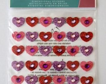 Jolee's Boutique -- Tween Gem Hearts  --  Dimensional Stickers   --   NEW  (#329)   36 Pieces