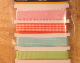 Little Yellow Bicycle   --  Ribbon --   Snuggle Bug  (Girl) Ribbon Set  --  5 piece Ribbon Set      --  NEW   --   (#852)