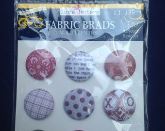 Little Yellow Bicycle --  Fabric Brads -- 9 pieces -- Love Letters -- appr. 3/4 inch wide -- NEW  (#560)