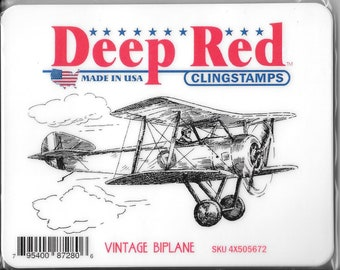 Deep Red Cling Stamps -- Vintage Biplane -- NEW -- (#2715)