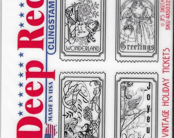 Deep Red Cling Stamps --    Vintage Holiday Tickets   -- NEW -- (#3865)