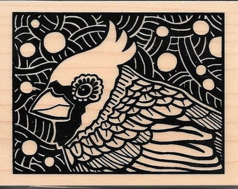 Cardinal Stamp -- NEW -- Wood Mounted Rubber Stamp --   (#2962)