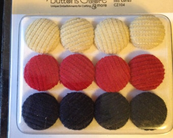 Cozy Brads  --  Fabric Brads -- 9 pieces -- His Cords   --   appr. 3/4 inch wide -- NEW  (#1622)
