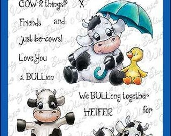 Whimsy Stamps --    Cow Friends  -- NEW  -- (#3606)
