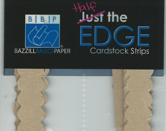 Bazzill Basics Paper  --  Half The Edge Cardstock Borders  --   10 styles  --  20 pieces --   NEW  --  Kraft  --  (#887)