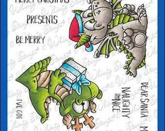 Whimsy Stamps --   Dragon Christmas Wishes    -- NEW  -- (#4139)