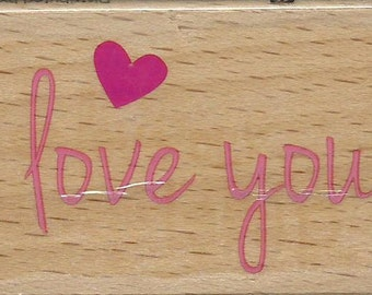 I Love You Stamp --   NEW  -- Wood Mounted Rubber Stamp --  Studio G Brand --   (#1369)