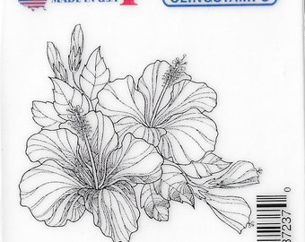 Deep Red Cling Stamps --  Hibiscus  -- NEW -- (#3399)