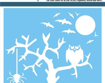 Clear Scraps Designer Stencil -- New --  Spooky Tree  -- (#4002)