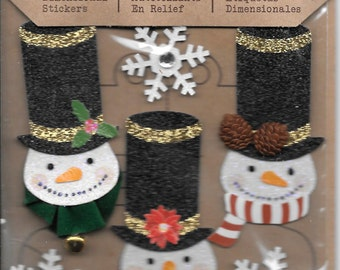 Jolee's Boutique --  Glittered Snowmen Stickers -- NEW --  (#1765)