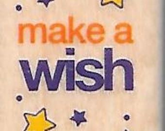 Make A Wish Stamp --   NEW  -- Wood Mounted Rubber Stamp --  Rubber Stampede Brand --   (#1459)