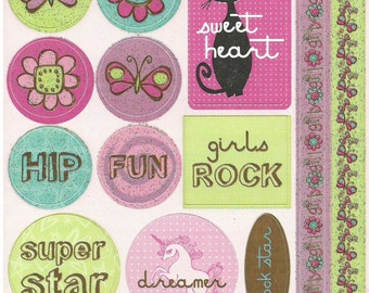 Reminisce  -- Girly Girl #1 Stickers  --  NEW  --  (#981)  -- Girl Stickers