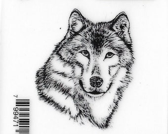 Deep Red Cling Stamps --  Wolf Portrait  -- NEW -- (#3225)