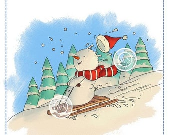 Whimsy Stamps -- Snowman's Sled Ride -- NEW  -- (#2672)