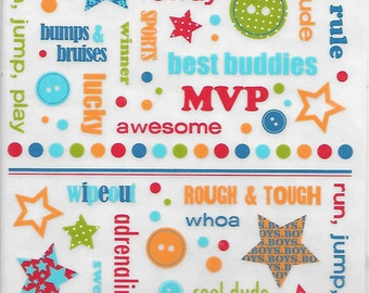Rub On's  -- Making Memories  --  Giggle Kids Boy  -- NEW -- Self Adhesive Rub Ons  --    (#1543)