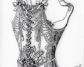 Deep Red Cling Stamps --   Victorian Corset   -- NEW -- (#3409)