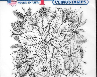 Deep Red Cling Stamps --  Color Me Poinsettia -- NEW -- (#2919)