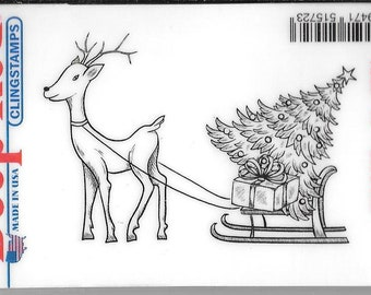 Deep Red Cling Stamps -- Reindeer with Gifts  -- NEW -- (#2927)