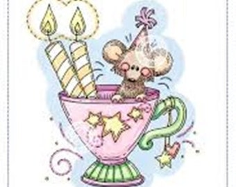 Whimsy Stamps -- Birthday Cup Mouse -- NEW  -- (#2695)